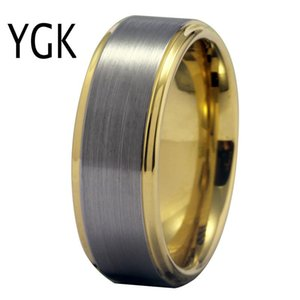 YGK Wedding Jewelry Dull Polish Surface Classic Golden Step Tungsten Ring for Men Bridegroom Wedding Engagement Anniversary Ring