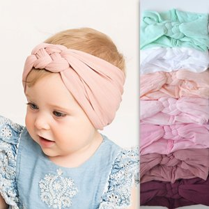 New Braided Nylon Head bands Kids Girls Children Twisted Cross Knot Headwraps Elastic Soft Hairbands Hair Accessories