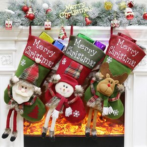 Creative Large Size Christmas stocking children candy bags sock gift bag Xmas Tree Ornaments home Christmas decoration supplies FWB3277