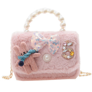 INS New Kids Cartoon Princess Bags Children Bunny Sequin Bow Messenger Bag Girls Pearl Metal Chain Change Purse Shoulder Bags C6569