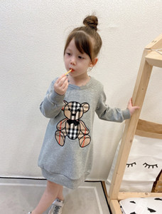 Designer Girls Felpa Dress Dress 2021 Fashion Children Bear Appliqued Casual Jumper Bambini Colletto rotondo Abito a maniche lunghe A4713