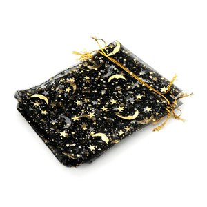 50pcs Gauze Bag Star Moon Black Bags 912cm Special Design Organza Package Bronzed Wedding Gift Candy Jewelry Jewelry Package sqceoj pp2006