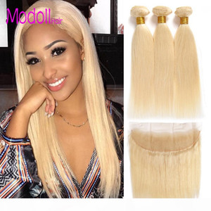 613 Bundles With Frontal Peruvian Virgin Hair Blonde 3 Bundles With Closure dhgate Remy Straight Human Hair Blonde Bundles With Frontal