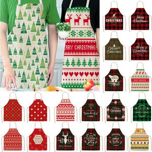 Linen Merry Christmas Apron Christmas Decorations for Home Kitchen Accessories Natal Navidad New Year Christmas Gifts GWC4410