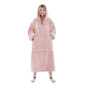 Waitu Wearable Blanket Sweatshirt for Women and Men, Super Warm and Cozy Big Blanket Hoodie, Thick Flannel Blanket with Sleeves and Giant Po
