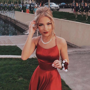 Red Cheap Spaghetti Straps Satin Long Prom Dresses Ruched Split Criss Cross Sweep Train Formal Party Evening Dresses