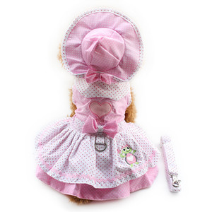 armipet Dog Dresses Pink Princess For Dogs 6071054 Pet Clothing Supplies ( Dress Hat Panties + Leash = 1set