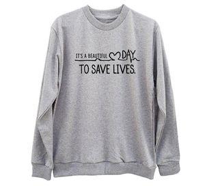 """""""Es ist ein schöner Tag, um Leben zu retten"""" Greys Anatomy Sweatshirt Womens Langarmhemd Tumblr College Crewneck Pink Hoodies"""