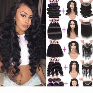 9A Brazilian Deep Wave Curly Virgin Human Hair Bundles With 360 Lace Frontal Closure Cheap Human Hair Weave 3 Bundles With 360 Frontal