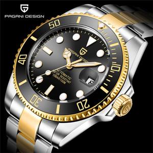 Pagani дизайн бренда роскошные мужские часы автоматические черные часы мужские нержавеющие сталь водонепроницаемый деловой спортивный механический 201120