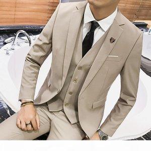 Jacket Pant Vest Men 3 Pieces Slim Fit Casual Tuxedo Suit Male Suits Set Wedding Groom Dress business Blazers Trousers S-6XL
