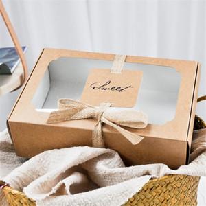 LBSISI Life 10pcs Sweet Kraft Paper Box с Wibdow День рождения Свадьба Подарочная упаковка Торт Коробки и Упаковка Выпечки Печенье Подготовка BBYGPD