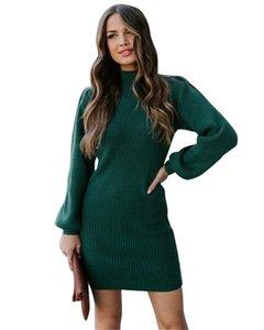 Designer-Fashion Soild Color Womens Dresse Casual High Neck Warm Slim Dresses Skinnny Sexy Womens Clothes Winter