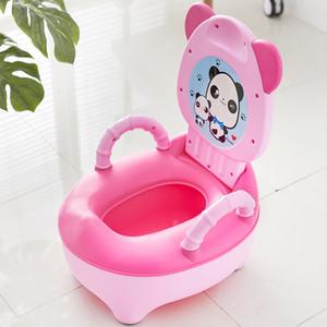 Baby Pot Kids Cartoon Panda Toilet Trainer Children Training Potty Toilet Seat Portable Travel Urinal Comfortable Backrest Pots LJ201112