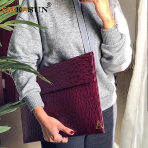 XMESSUN Женщины Чехол Мягкая сумка Laptop Sleeve Страус кожа Женский Мода Сцепление Новый Модные Macbook Pro Air Notebook Cover Ins Q1116