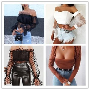 Hollow Out Sheer Crop Tops Casual Panelled Top Women Clothing Women Slash Neck Gauze T-Shirt Sexy