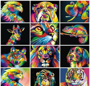 Oil Paint Pictures Adult Animals Numbers Painted Gift By Decoration 50x40cm Coloring Paints Hand Diy Painting Wall wmtkO comb2010