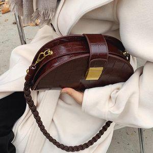 Crocodile pattern Small Saddle bag 2020 New High quality PU Leather Women's Designer Handbag Vintage Shoulder Messenger Bag