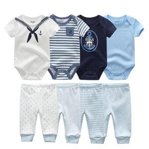 2021 Bébé garçon vêtements Ensembles coton 6 / 8pcs BodySuits + pantalons solides Unisex nouveau-né bébé fille vêtements ropa bebe filles bébé vêtements c1223