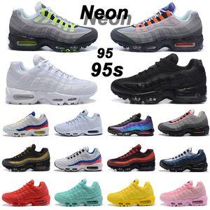 95 95s OG نيون الرجال احذية الجري ما الثلاثي الأسود الأبيض الليزر الفوشيه الرجال النساء المدرب الرياضة في الهواء الطلق حذاء رياضة 36-45