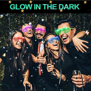 LED Glasses 5 Color Light Up Glasses Shutter Shades Glow Sticks Party Sunglasses Glow Birthday Party Supplies Favors Kimter-X629FZ
