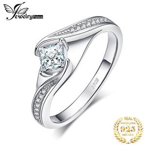 JewelryPalace Princess Cut Обращающееся кольцо 925 Стерлинговые серебряные кольца для женщин Обещание Кольцо Обручальные кольца Серебро 925 Ювелирные Изделия 201218