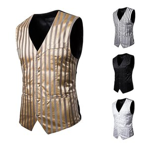 Striped waistcoat man wedding suit vests single-breasted fashion wait coat men business casual barber vest singer Stage costumes