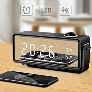 Alarm Clock LED Time Display Electronic Desktop Digital Bluetooth Speaker Wireless Bass Portable Support TF AUX Music Player