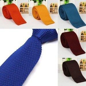 Стильные мужчины сплошной цвет тонкий тонкий тканый вязать трикотажные галстуки узкие галстуки1