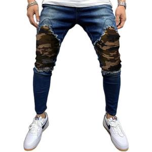 Camuflagem Plissada Mens Jeans Moda Distressed Slim Homem Denim Calças Outono Inverno Casual Homens Designer Lápis Calças