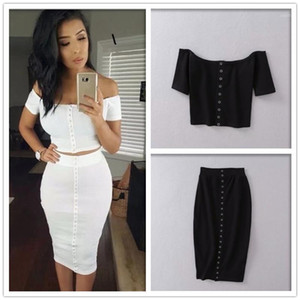 2019 Short Hot Sale Women Hot Single-breasted Cotton Thread One Shoulder Short-sleeved T-shirt + Bag Hip Skirt Two Piece Set1