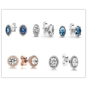 925 Sterling Silver Earring Blue Sparkling Crown Stud Earrings With Crystal For Women Wedding Gift Fashion Jewelry