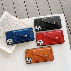 Luxury Leather Wallet Crossbody Phone Case For iPhone 12 mini 11Pro MAX XS XR 7 8Plus Fashion Solid Color Card Slot Lanyard Cover