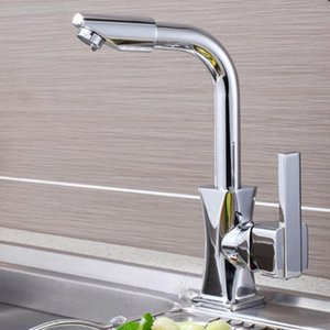Basin Faucet Durable Single Hole Modern Deck Mounted 360 Degrees Home Cold-Hot Water Rotatable Mixer Tap Bathroom Fast Kitchen