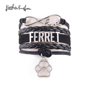 Little MingLou Infinity love Ferret bracelet pet dog Charm leather wrap men bracelets & bangles for women jewelry