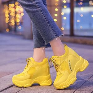 Lucyever outono inverno mulheres tornozelo botas de doces cor alta plataforma alta sapatos de mulher Altura crescente Aumentar sapatilhas Creeper # CX4i