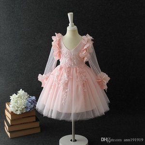 Fashion girl dress pink princess style for special occasions ball gown with bowknot for 3 4 5 6 7 8 years old
