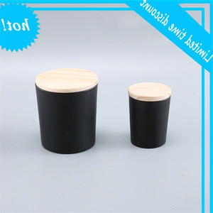 wholesale 50ml 160ml 200ml Matte black clear frosted transparent glass empty cup with wooden lid DIY candle container