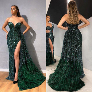 2021 Green Mermaid Evening Dresses Strapless Beads Sequins Feather Tulle Prom Dress Floor Length Special Occasion Dresses robes de soiree