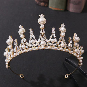 Hot Sale White Crystal PearlBridal Jewelry Tiara Headpieces Crown Bride Princess Crown Headpiece For Wedding Bridal Accessories