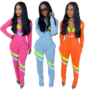 womens sportswear two piece set outfits long sleeve tracksuit jacket pants sportswear bodycon outerwear tights sports set hot H8812