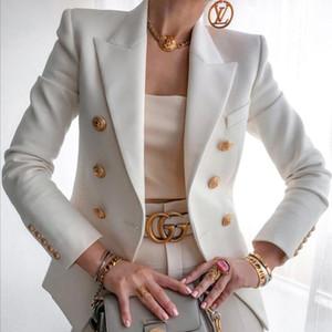 Mujer Blazer Doble Blazers Blazers Tallas grandes Chaquetas para mujer 2021 Slim Fit Manga larga elegante Traje femenino Chaqueta Oficina Damas