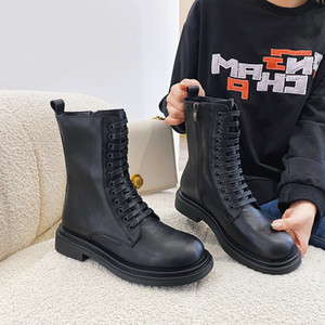 Универсальный осенний корейский стиль Мартин сапоги легкие летающие ткачество 4см низкий каблук короткие сапоги натуральные кожаные женские туфли