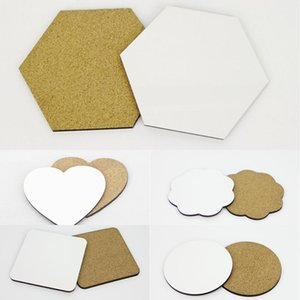 DIY Sublimation blank Coaster Wooden insulated cork cup mat MDF Advertising Gift promotion Semi-finished insulated cup mats SN Y1127