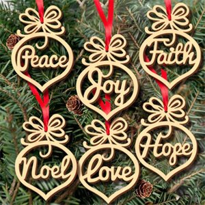Christmas letter wood Church Heart Bubble pattern Ornament Christmas Tree Decorations Home Festival Ornaments Hanging Gift