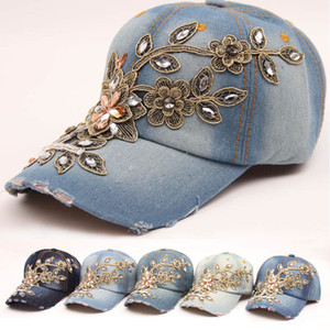 Women Baseball Cap Diamond Painting Embroidery Flower Denim Snapback Hats Jeans Woman Female Cap Cowboy Summer Sun Hat