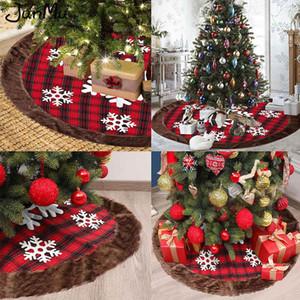 Christmas Tree Skirt Buffalo Plaid with Thick Faux Fur Snowflake Christmas Tree Skirt Rustic Tree Skirt Plaid Xmas Decorations Z1128
