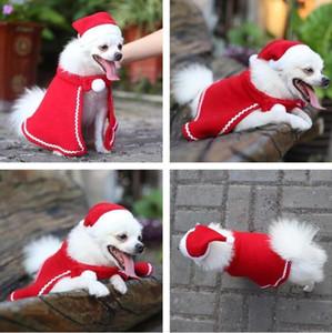Christmas Pet Hat Warp Sets Teddy Dog Cape Hat Dress Cloak Christmas Pet Full Dress Decor Christmas Pet Hat Cape Suitdog App Wholesale