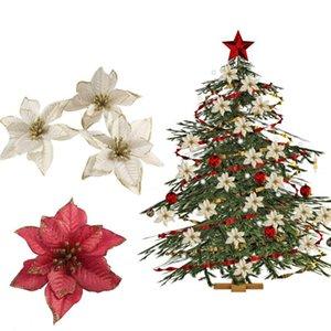 5pcs / lot 13cm Christmas Christmas artificiel Fleurs Tête paillettes Fausse fleur pour la fête de mariage Home Couronne de bricolage Chriatmas Tree Décorations