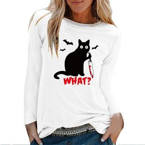Cat Knife Bats What Print Long Sleeve Top Women Autumn Winter Graphic Tee Gothic Shirts for Women White O Neck Clothing Female1